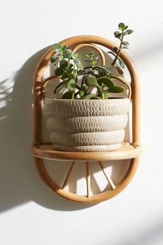 Magical Thinking Paz Rattan Wall Shelf - Urban Outfitters greenery makes me happy :D I would use this shelf as pictured. Deco Spa, Bamboo Furniture, Hanging Racks, Home And Deco, New Room, Plant Decor, Wall Shelves, Decoration, Boho Decor