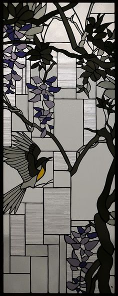 Bird and wisteria stained glass
