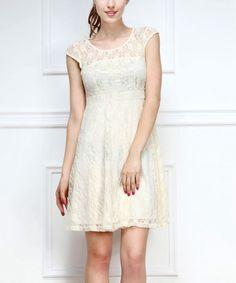 Look at this #zulilyfind! Cream Lace Cap-Sleeve Dress by Reborn Collection #zulilyfinds