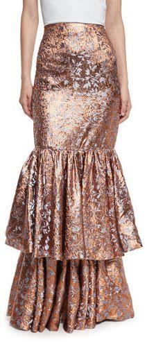 Johanna Ortiz d'Artagnan Tiered Jacquard Maxi Skirt, Rose Gold/Blue  https://api.shopstyle.com/action/apiVisitRetailer?id=615532736&pid=uid2500-37484350-28