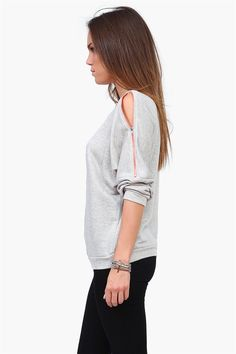 Zip Up Sweatshirt in Grey/Coral