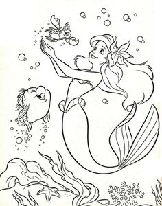 Walt Disney Coloring Page Of Flounder Sebastian And Princess Ariel From The Little Mermaid HD Wallpaper Background Photos