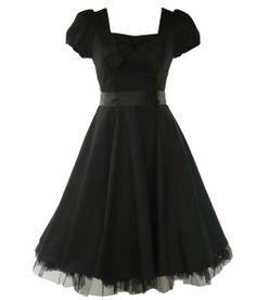 H&R London 50's Vintage Tea Prom Dress Plain Black - S = US 6, UK 10