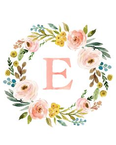 Personalized Name Art - Affordable Baby Gift - Nursery Monogram wallpaper Meadowland Floral Monogram Wreath with Name - Personalized Printable Monogram Wallpaper, Baby Wallpaper, Wallpaper Art, Diy Baby Gifts, Personalized Baby Gifts, Watercolor Lettering, Hand Lettering, Watercolour, Monogram Painting