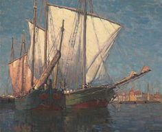 """In the Canal, Chioggia,"" Edgar Payne, ca. oil on canvas, private collection. Edgar Payne, Sailboat Painting, Shimmer Lights, Adriatic Sea, Grand Tour, Old Master, Landscape Lighting, American Artists, Impressionist"