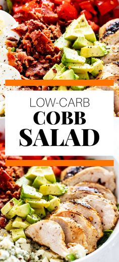 I really want to try new low carb salad recipes recipes and this Easy Low Carb Cobb Salad looks so good! I can't wait to cook this easy meal for my family. It looks like the perfect keto dinner recipe. SO PINNING! Low Carb Taco Salad, Salad Recipes Low Carb, Lunch Recipes, Easy Dinner Recipes, Keto Recipes, Easy Meals, Cobb Salad Dressing, Salad Dressing Recipes, Lunch Ideas
