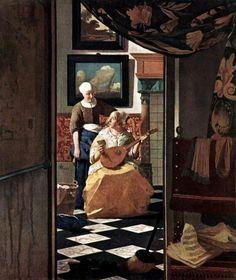 Johannes Vermeer The Love Letter, , Rijksmuseum, Amsterdam. Read more about the symbolism and interpretation of The Love Letter by Johannes Vermeer. Johannes Vermeer, Baroque Painting, Baroque Art, Caravaggio, Vermeer Paintings, Oil Paintings, Tableaux Vivants, Renaissance Kunst, Art History