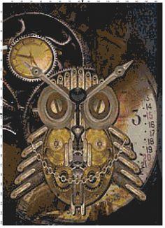Steampunk Owl Cross Stitch Pattern, Instant Download PDF by KustomCrossStitch on Etsy