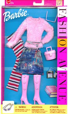 2002 Fashion Avenue Barbie Denim Skirt Pink Sweater Boots 56856 Mod Cloth Outfit | eBay