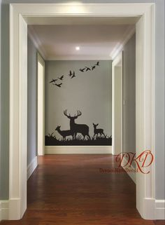 wall Decals Home - Deer Wall Decals, Buck Deer Nursery wall decal, Woodland theme Nursery, Deer in Grass with birds Entrance Wall Decal, Animal Hunting Theme Nursery, Deer Nursery, Nursery Wall Decals, Boys Hunting Bedroom, Hunting Rooms, Girl Nursery, Bedroom Themes, Nursery Themes, Bedroom Decor