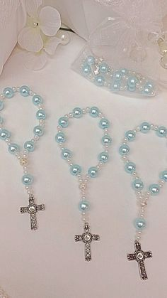 A DOZEN Light Blue glass pearl mini rosary por Beautifyyou en Etsy