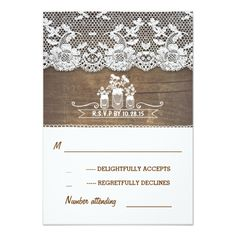 wood and lace mason jars rustic wedding RSVP cards