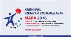 Karnival kerjaya dan keusahawanan MARA 2016 | Pelbagai jawatan dan aktiviti menarik akan dijalankan seluruh rakyat malaysia diperlawa untuk hadir