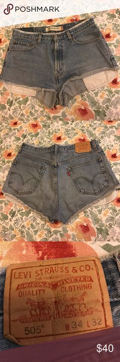 "Levi's cutoff denim shorts size large/30 Levi's cutoff denim shorts size large/30. The tag on the back is incorrect they're not actually size 34! They got like a size large or 30"" waist. So cute and perfect for summer! Great broken-in condition. Feel free to make an offer but sorry, no trades! Levi's Shorts Jean Shorts"