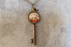 Large Antique Bronze Key Necklace. by CutesyandFun on Etsy