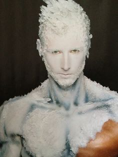 I love the effect of this male ice man themed make-up. I am going to try and recreate a similar effect with the use of an airbrush so that I can contour and highlight the upper structure of the body.