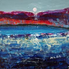"Contemporary Abstract Landscape Painting -""MoonLight I"" by artist Cristina Del Sol"