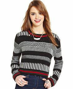 Pink Rose Juniors' Striped Eyelash-Knit Sweater - Juniors Sweaters ...