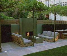 great looking-sv Outdoor fireplace, Luciano Giubbilei Outdoor Fire, Outdoor Lounge, Outdoor Rooms, Outdoor Gardens, Outdoor Living, Outdoor Furniture Sets, Outdoor Decor, Roof Gardens, Backyard Fireplace