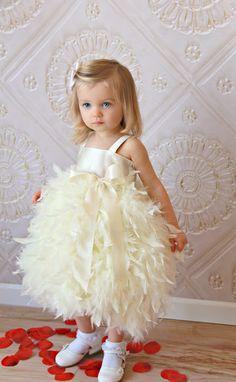 Feather Dress | 41 Flower Girl Dresses That Are Better Than Grown-Up People Dresses♥