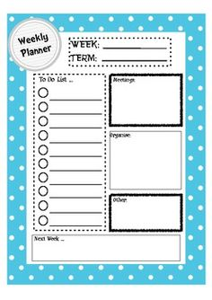 Weekly Planner for Organised Teachers Teacher Planner, Teacher Binder, Teacher Notebook, Teacher Stuff, Teacher Organisation, Organised Teacher, Organization Station, Special Education Classroom, Future Classroom