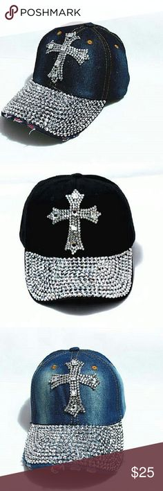 Rhinestone Cross Denim Hats New adult size rhinestone cross style denim hats...See all items for sale we have the latest in fashion clothing, swimsuits, jewelry, sunglasses, makeup and more! Follow us to stay with the latest fashions daily!  If you like Kate Spade Free People Anthropolgie Urban Outfitters or Brandy Melville Aeropostale Forever 21 H&M Roxy True Religion PacSun Hollister American Eagle Victoria Secret PINK  #flawlessfashions04 Rima Imar Accessories Hats