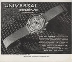 1947 Universal Geneve Business Man's Chronograph Watch Original Vintage Print Ad. #universal #geneve #geographic #chronograph #vintage #mens #watch #ads #watches #advertisements #wristwatches #classic #stawc