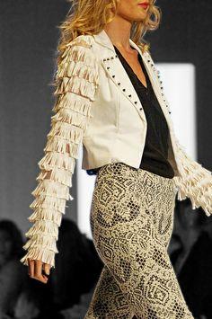 Fringe jacket and lace pants!