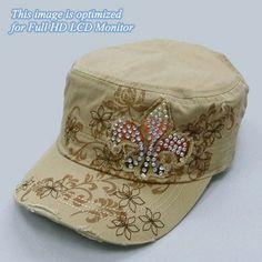 """NEW Khaki """"Fleur de lis"""" Original Vintage Cap"""