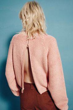 zipper back pink sweater #style #fashion #seebychloe #ss16