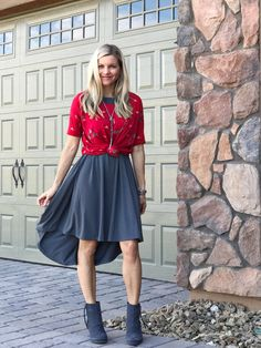 LuLaRoe Irma top tied over a Carly dress. Layering is so fun, and changes the look of each of your LuLaRoe pieces! It's fun to mix and match. Click for more inspiration, giveaways, and to shop LuLaRoe! Also, totally digging these Toms grey booties! I was looking for grey booties FOREVER and finally found these at Nordstrom Rack! :)