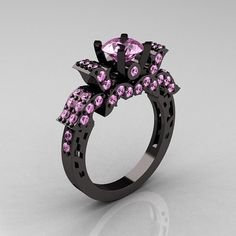 French 14K Black Gold Light Pink Sapphire Wedding by artmasters, $2559.00