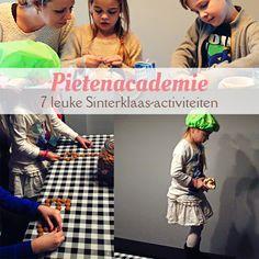 7 leuke Sinterklaas-activiteiten; de Pietenacademie: - Pietenmutsen knutselen - Sinterklaasliedjes raden - Cadeautjes inpakken - Op het dak lopen oefenen - Precisie strooien - Pepernoten bakken - Pietenquiz Yoga For Kids, Diy For Kids, Babysitting, Kids Education, Games For Kids, Teaching, Om, Stage, Nice