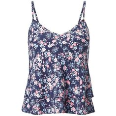 Miss Selfridge Petites Ditsy Floral Cami Top ($35) ❤ liked on Polyvore featuring tops, mid blue, petite, floral top, spaghetti-strap tank tops, blue tank, strappy tank top and floral cami
