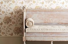 Larkhill Wallpaper Collection by GP & J Baker soft yellow and delicate grey.