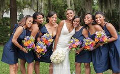 Brightly colored bouquets for bridesmaids with dark dresses; Art Photo Soul Photography