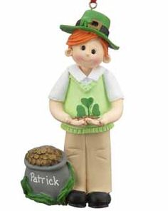This Irish boy has found the pot of gold at the end of the rainbow!  He is wearing his Irish sweater vest and hat.  Buy this adorable clay Christmas ornament now for only $13.95 at www.ornamentshop.com