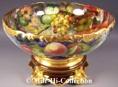Limoges France Handpainted Fruits Apples Plums Grapes Punch Bowl on Base Stand | eBay