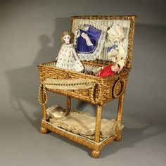 French All Bisque Bare Feet Mignonette with Trousseau in Extraordinary Wicker Box