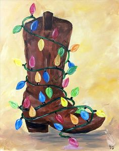 57 Ideas For Christmas Art Painting Canvases Diy Canvas Easy Canvas Painting, Tole Painting, Diy Canvas, Diy Painting, Christmas Drawing, Christmas Art, Wine And Canvas, Christmas Paintings On Canvas, Cowboy Christmas