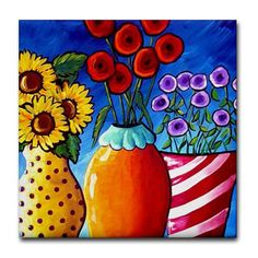 3 Vases Fun  Colorful Whimsical Folk Art Ceramic Tile