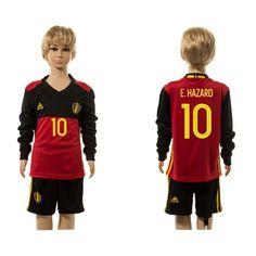 Belgien Trøje Børn 2016 #Hazard 10 Hjemmebanetrøje Lange ærmer.222,01KR.shirtshopservice@gmail.com