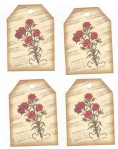 9 Red Flower Bouquet Gift Tags by NanaLetha on Etsy, $2.50