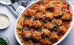 Our Favorite Spaghetti and Meatballs recipe image / Photo by Chelsea Kyle, food styling by Rhoda Boone