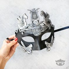 Mens Masquerade Mask, Matte Black and Silver Roman Mask, Greek God Mask, Mardi Gras Mask, Masquerade Mask Men [Matte Black & Silver]