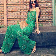 Macacão Feminino Longo verão calças de pernas largas macacão elegante macacão para mulheres(China (Mainland))