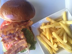 Florence's #burger! prepared for us by Sous Chef Marco: cheddar cheese, bacon, onion, cucumber, tomato…