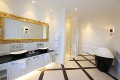 Schloss Schönbrunn Suite: The contemporary freestanding bathtub is modeled on the one that Empress Sisi bathed in. Royal Bathroom, Vienna Hotel, Hotels, Trends, Contemporary, Mansions, Mirror, Freestanding Bathtub, Vienna Austria