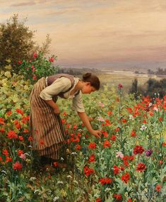 Galería de Daniel Ridgway Knight. Contentment is working in the flower garden.