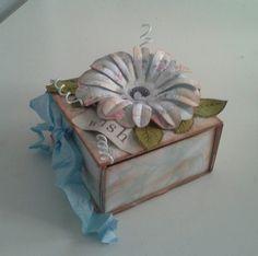 """Little paprrcraft box using Craftwork """"TeaDance""""paper and DoCraft flowers."""